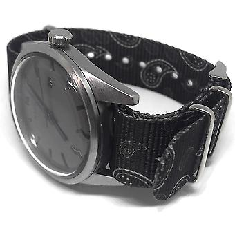 N.a.t.o zulu g10 style watch strap 20mm grey paisley with stainless steel buckle