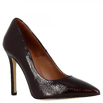 Women's handgjorda höga klackar pumpar skor i vinrött patentläder