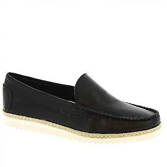 Leonardo Shoes Men-apos;s chaussures de mocassins à enfiler à la main en cuir de veau noir