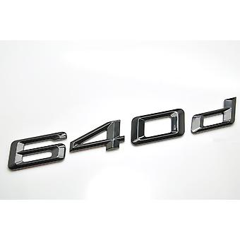 Gloss Black BMW 640d Car Badge Emblem Model Numbers Letters For 6 Series E63. E64 F06 F12 F13 G32