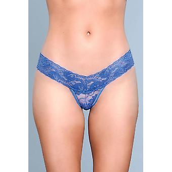V-Cut Lace String - Blue