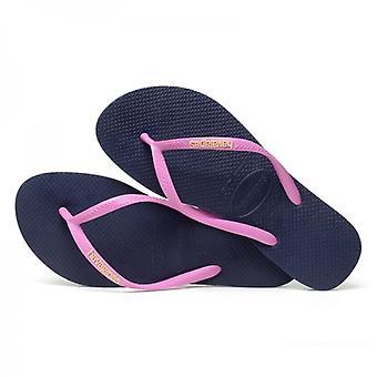 Havaianas Slim Logo Ladies Flip Flops Navy/ice Pink