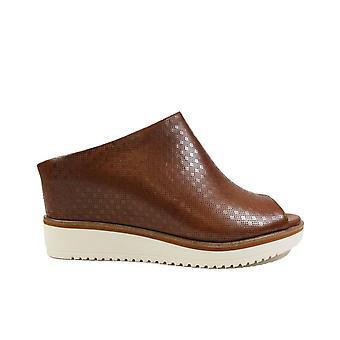 Tamaris 27200 Brown Leather Womens Slip On Mule Hidden Wedge Heeled Sandals