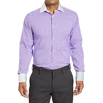 Straight-cut contrasting collar striped shirt