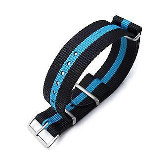 Strapcode n.a.t.o klockarmband miltat 22mm g10 nato bullet tail klockarmband, ballistisk nylon, borstad - svart och himmelsblå ränder