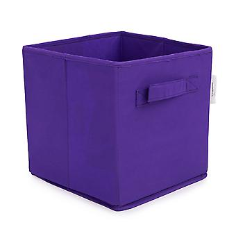 Essentials by Loft 25 Purple Collapsible Organiser Storage Box | Designed for Cube Storage Furniture | Bedroom Storage | Foldable and Durable Fabric | Carry Handles