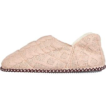 Dearfoams Women's Quilted Cable Knit Bootie Slipper, Dusty Pink, S Regular US