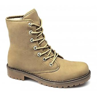 Xti Christen Ladies Lace-up Fold Over Warm Boots Camel