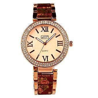Eton Womens Rose Gold Tone / Dk Pink Floral Print Bracelet, Fashion Watch 3190J