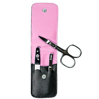 Arrow ring manicure case, nappa leather black, lining pink, 3-piece assembly
