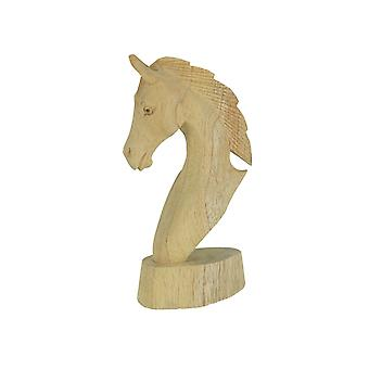 Hand Carved Wooden Natural Finish Horse Bust Tabletop Statue 7.75 Inches High