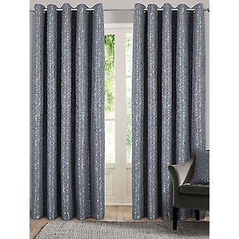 Belle Maison Lined Eyelet Curtains, Nova Range, 46x72 Charcoal