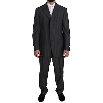 Z Zegna Gray Striped Two Piece 3 Button Wool Suit KOS1482-48
