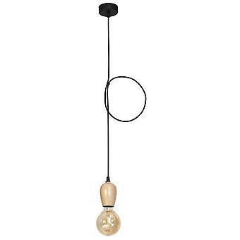 Billie Pendentif Lampe Couleur Bois, Métal noir, bois, L8xP8xA90 cm