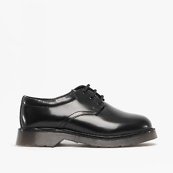 Roamers Devin Boys Leather Derby Schoenen Glanzend Zwart
