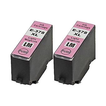 RudyTwos 2x Replacement for Epson 378XLLM Ink Unit LightMagenta Compatible with XP-8500, XP-8505, HD XP-15000