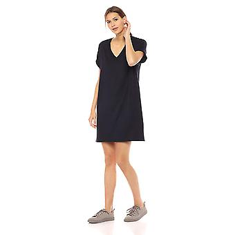 Brand - Daily Ritual Women's Supersoft Terry Deep V-Neck Roll-Sleeve High-Low Dress, Navy, X-Small