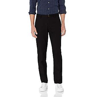 Pantalone chino piatto resistente alle rughe resistente alle rughe di Essentials, vero nero, 38W x 32L