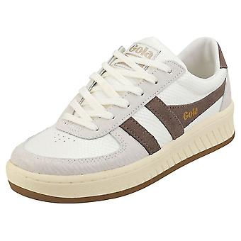 Gola Grandslam Reptile Womens Fashion Trainers in Taupe Grey