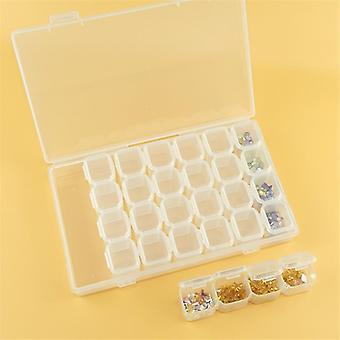 Verstelbare plastic opbergdoos voor sieraden, diamant, borduurwerk, kraal