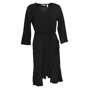 Isaac Mizrahi Live! Women's Ruffle Hem Knit Wrap Dress Black A353284