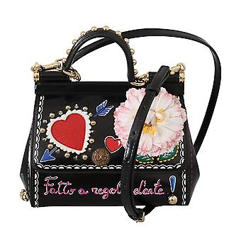 Black leather floral heart cross body purse sicily bag