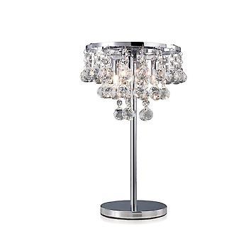Lampada da tavolo 3 Cromo lucido chiaro, Cristallo