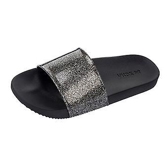 Womens Zaxy Sandals Snap Glitter Beach Slide / Flip Flop - Black