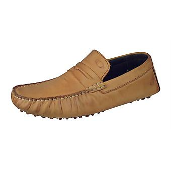 Base London Morgan Hombres Slip On Oily Leather Driving Mocs / Zapatos - Tan
