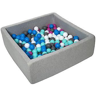 Poço de bola quadrada 90x90 cm com 300 bolas brancas, azuis, roxas, cinzas e turquesas