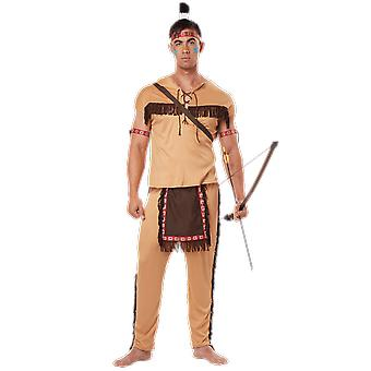 Mens Native American Wild West Indian Film Fancy Dress Costume