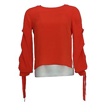 Vince Camuto Women's Top (XXS) Tiered Sleeve Tie Cuff Sheer Red A306688