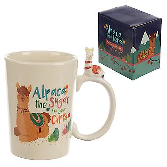 Fun Alpaca Slogan Shaped Handle Ceramic Mug