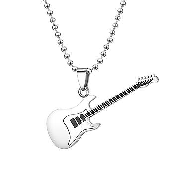 Electric Guitar Pendant Long Chain Necklace Music Lover
