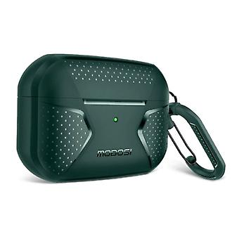 MOBOSI Shockproof Case for AirPods Pro with Carabiner - AirPod Case Cover Skin - Green