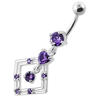 Purple Crystal Stone Heart with Square Frame  Dangling Sterling Silver Belly Bars Piercing
