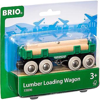 BRIO World Lumber Loading Wagon voor kinderen van 3 jaar en ouder, compatibel met alle BRIO-treinsets
