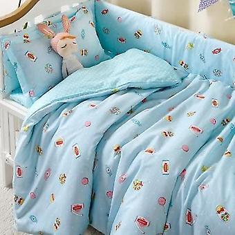 Conjunto de roupas de cama 100% algodão bebê, capa de colcha para filhotes recém-nascidos berço