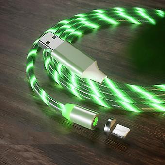 USB עד 8 פינים יניקה מגנטית צבעוני סטרים טלפון נייד כבל טעינה, אורך: 1m (אור ירוק)