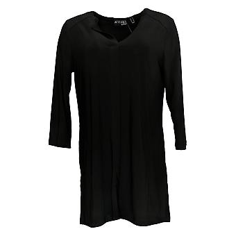 Actitudes por Renee Mujeres's Top Collarless Tunic W/Pockets Negro A301309