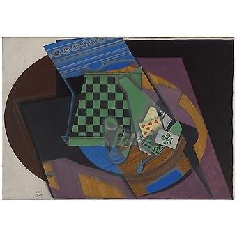 Canvas Print - Checkerboard And Playing Cards - Juan Gris - Wall Art Decor
