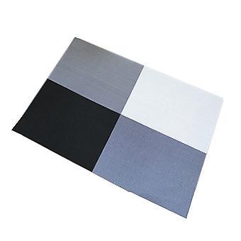 6pcs PVC Table Mat Pastoral Cross Grid Style Heat-Resistant Placemats Black