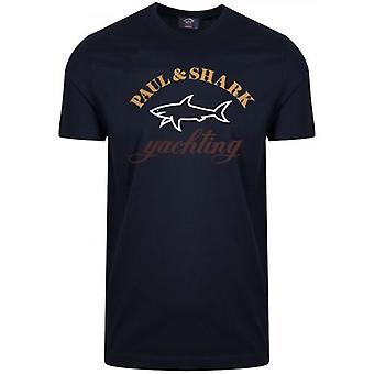 Paul & Shark Blue Three Colour Logo T-Shirt