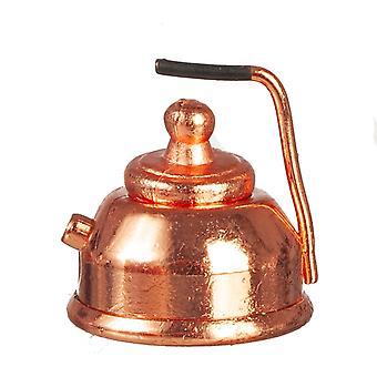 Casa de muñecas miniatura 1:12 escala antigua cocina accesorio de cobre Kettle