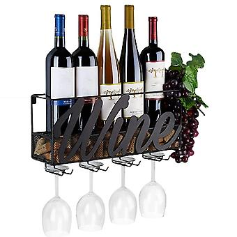 4 Built-in Metal Wall Mounted Wine Glass Holders With Cork Tray