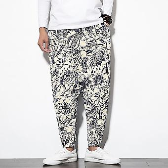 Men Cotton Harem Pants With Pocket, Men Hip-hop Baggy Wide Leg Trousers