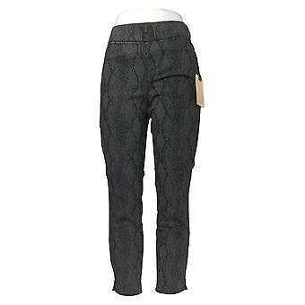 NYDJ Women's Jeans Alina Printed PullOn Skinny Ankle Side Slit Blue A369480