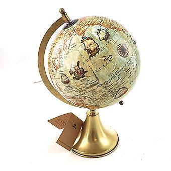 Globe metalen voet goud 33,5 cm