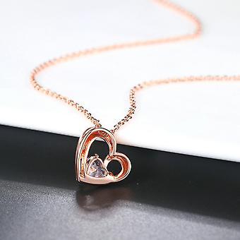 Double Fair Heart Pendant Necklace