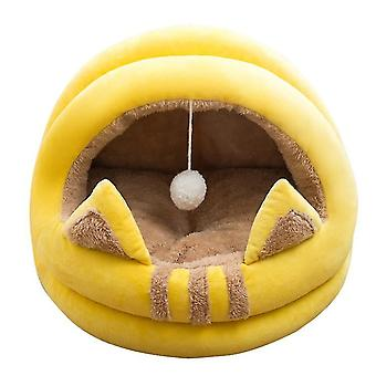 Cat Pet House Bed With Removable Cushion, Warm Winter Sleeping Cuddler Cushion Mat